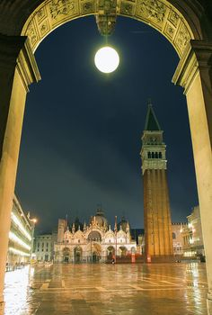 St Marcos Square At Night, Venice, Italy