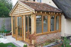 Enclosed Oak Front Door Porch - Front Elevation