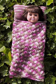"American Girl 18"" Doll  SLEEPING BAG free crochet pattern. You could use any crochet stitch pattern to make this. Same as an afghan!"