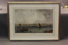 """Lot 265 - Hand colored lithograph showing Boston Harbor and it's 19th century skyline. Matted and framed. Formerly on display in the luxurious Presidential Suite at the five-star Boston Harbor Hotel. 28"""" x 41"""", on sight. 41"""" x 53"""", overall."""