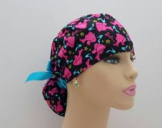 Ponytail Medical Scrub Cap - Barbie Silhouettes and Shoes - Black / Hot Pink