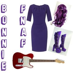 Human Bonnie by hellothere-peoplesoftheearth on Polyvore featuring polyvore fashion style Adrianna Papell American Standard fnaf humanfnaf