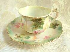 Antique RS Prussia Fine Porcelain Teacup Saucer Pink Rose White Flower Leaf Pearlized