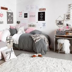 Image result for gray bedding ideas for girls dorm
