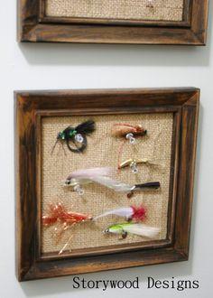 Mini Burlap Bulletin Boards hold flies in hubby's hobby room.