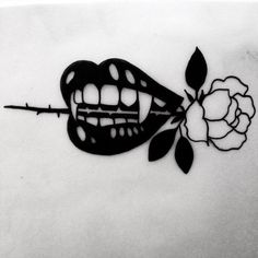 VAMPIRE TEETH ROSE TATTOO