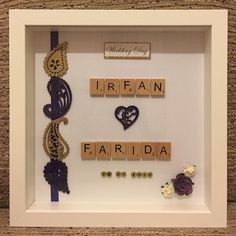 Beautiful personalised Wedding Frame  #handmade #handcrafted #personalised #frame #personalisedframes #craft #art #design #wedding #weddingday #weddingseason #weddinginspiration #memories #beautiful #gold #purple #white #floral #rose #heart #keepsake #leicester #gift #husband #wife #indianwedding #asianwedding #henna #couple #frame #bridal by handmade_personalised_frames