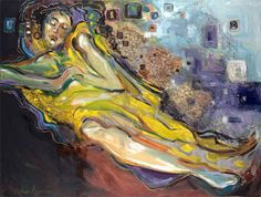 bed of dreams oil painting of an earth goddess on a dreamlike scene scape of color and shapes