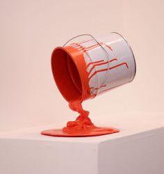 """PIMAX Sculpture. """"Gravity paint-pot orange"""".   Soon at marché Dauphine ..."""