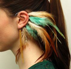 Feather Ear Cuffs   Mint With Gold Pair by Njuu on Etsy, $52.00-These are so pretty and unique!