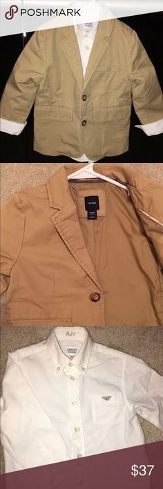 🔷 Armani collared shirt and blazer 🐠 Armani shirt ($115 ) khaki blazer by baby Gap ($52 )are in great condition. The collared shirt says 2, not 2T but there wasn't an option for that. 🌱 Shirts & Tops Button Down Shirts