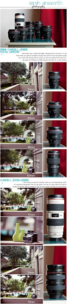 Great visual to help explain different Canon lenses. I just want all the lenses! Photography Cheat Sheets, Photography Lessons, Photography Camera, Photoshop Photography, Photography Business, Photography Tutorials, Love Photography, Modelling Photography, Professional Photography