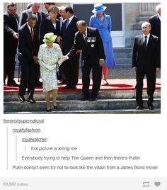 Not trying to be political but.he does look like the stereotypical Bond villain(Try Not To Laugh Comment) Stupid Funny, Funny Cute, Really Funny, Hilarious, Funny Stuff, Funny Things, Awkward Funny, Queen Of England, Funny Tumblr Posts