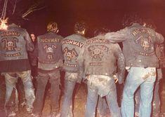 Ruff bunch bet they all died of hip c lolol Biker Clubs, Motorcycle Clubs, Biker Gangs, Custom Denim Jackets, Gang Members, Vintage Biker, Biker Quotes, Gangsters, Bike Stuff