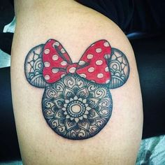 Mini mouse mandala tattoo by @shortbustattoo   #disney #disneytattoo #minimouse #mickeymouse #mandalatattoo #minimousetattoo #tattooart #tattoolovers