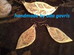 mama leone : my handmade tutorial - No. 1 - How to make recycled paper earrings and necklace. Paper Earrings, Drop Earrings, How To Make, Handmade, Hand Made, Drop Earring, Handarbeit