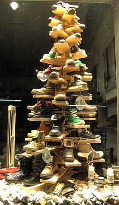 Shoe xmas tree (Palladium Christmas Window Display 2012) #holiday #retail #merchandising #tree #display