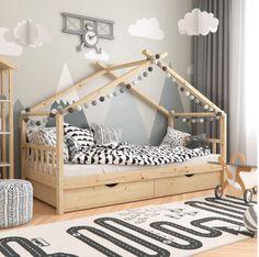 Montessori Children's Floor Bed Frame With Rails and Under Bed Storage – Rare Epoch Toddler Floor Bed, Toddler Bed Frame, Diy Toddler Bed, Kids Bed Frames, Boy Toddler Bedroom, Toddler Rooms, Baby Boy Rooms, Kids Bedroom, Toddler Cabin Bed