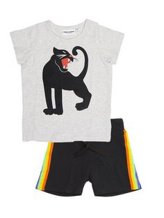 Camiseta Panther de Mini Rodini, gris