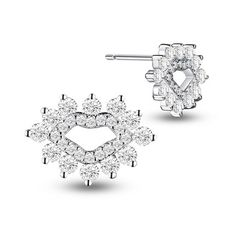 Awesome 925 Sterling Silver Ear Studs, with Micro Pave AAA Zircon Lips, Platinum; Size: 14x10mm.<br/>Priced per 1