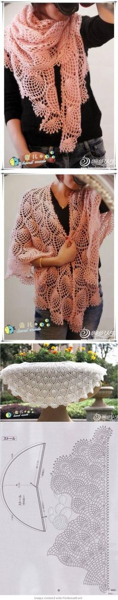 crochet - gorgeous lacy pineapple shawl including graph - devofare by Tidebuy-Reviews