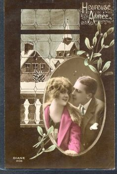 QC061-ART-DECO-COUPLE-Romance-in-FRAME-MISTLETOE-WINDOW-KITSCH-Tinted-PHOTO-pc