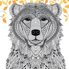 Woodland Animals Coloring Pages - Color A Bear From the Menagerie Free Adult Coloring Page Bear Coloring Pages, Free Adult Coloring Pages, Doodle Coloring, Mandala Coloring, Coloring Books, Coloring Sheets, Animal Drawings, Pet Portraits, Patterns