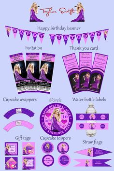 TAYLOR SWIFT Birthday Party Kit  Party Package  Custom  by mimseyy, $22.00