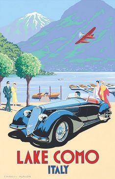 Vintage Cars : Illustration Description 'Alfa Romeo 8C-2900 – Lake Como' by Charles Avalon – Vintage car posters – Art Deco – Pullman Editions – Italy / Ancienne affiche publicitaire, vieille publicité voiture : Lac Côme, Italie