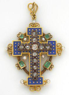 An antique diamond, enamel, emerald and seed pearl cruciform pendant, circa 1860