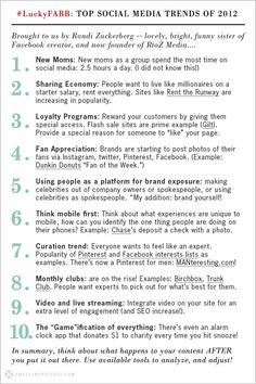 TOP SOCIAL MEDIA TRENDS 2012  1. New mums as a group spend the most time on social media; 2:5 hours a day...check out the others