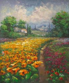 Wall Art finished in USA History: Garden Pathway is a hand finished canvas oil painting. Set in the countryside of Italy, this attractive canvas art depicts a g
