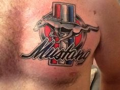 To represent that American pride this mustang tattoo can be incorporated along the colors: red, white, and blue, which is on the American flag. Ford Tattoo, Mustang Tattoo, Le Tattoo, Mustang Logo, Mustang Cars, Car Tattoos, Body Art Tattoos, Sleeve Tattoos, Tattoos For Guys