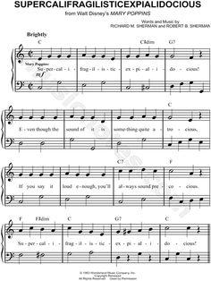 Supercalifragilisticexpialidocious sheet music from Mary Poppins