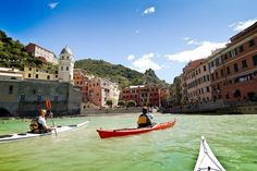 Been here!!  Cinque Terre's hiking trails may remain closed after the 2011 landslides, but a new sea kayaking tour provides a different perspective of the picturesque region. Photo: Tofino Expeditions / SF