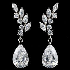 Rhodium Plated CZ Teardrop Wedding Earrings