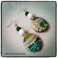 Orecchini fumettosi verdi e bianchi  Creati da: I Bijoux di Elisa