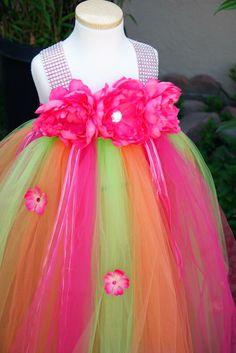 Hot Pink Lime Orange Bling Flower Girl Tutu Dress