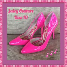 """Pretty in Pink Juicy Couture Stilettos NEW 10 Be Sexy and Pretty in Pink in these dazzling patent leather pump stilettos by Juicy Couture. Heel approximately 4.5"""" - generously padded footbed with signature Juicy lips logo - rubber bottom sole NEW Size 10  Juicy Couture Shoes Heels"""