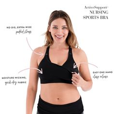 This is my favorite sports bra for breastfeeding postpartum mamas. Also works for pregnancy! Nursing Sports Bra, Mommy Workout, Quick Dry, Breastfeeding, Pregnancy, Fitness, Black, Fashion, Moda