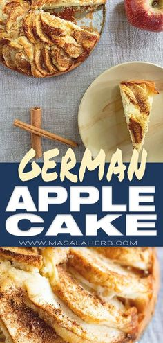 Easy German Apple Cake Recipe [Authentic Apfelkuchen] - Masala Herb Easy German apple cake, great for beginners and if you need a cake instantly. Deliciously moist and with raw apples. You need to bake this German dessert asap! Everyone loves apple cake. Apple Cake Recipes, Apple Desserts, Easy Desserts, Delicious Desserts, Dessert Recipes, Homemade Desserts, Easy German Recipes, Easy Baking Recipes, Bavarian Recipes