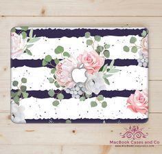Rose Stripes Macbook Case. MacBook Case. Macbook Cover. Hard plastic Top and Clear Bottom by MacBookCasesandCo on Etsy