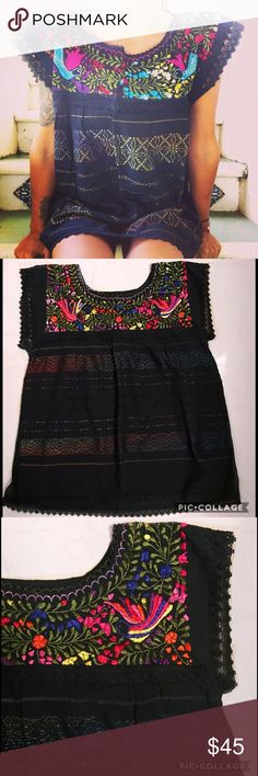 New Handmade Embroidered Mexican Traditionsl Top New, 100% handmade floral intrincate embroidery on chest, fabric made from scratch using a loom, crochet accents on sleeves and hem. One of a kind, every piece is similar but embroidery pattern or colors may vary. Cielito Lindo Tops Blouses