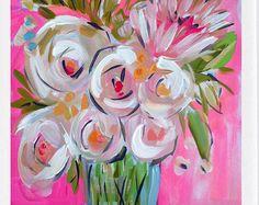 Estampados de flores abstractos sobre papel por Marendevineart