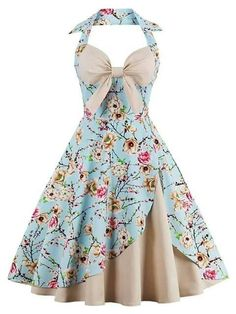Wipalo New Women Vintage Dress Plus Size Floral Print Pin Up Halter Summer Dresses Retro Rockabilly Party Feminino Vestidos Pretty Outfits, Pretty Dresses, Beautiful Dresses, Cute Outfits, Pin Up Dresses, Day Dresses, Summer Dresses, Summer Skirts, Vintage Dresses