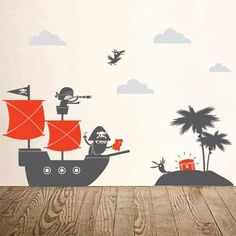Here are some more cost effective alternatives to a Pirates theme room decor. Pirate wall decals and wallpapers can upgrade your kids and nursery rooms Boys Wall Stickers, Kids Wall Decals, Pirate Bedroom, Kids Bedroom, Pirate Nursery, Boy Bedrooms, Kids Room Murals, Wall Murals, Wall Art