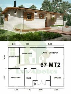 """3 BR, 1 bath, great room in a """"Minnimalist Casa"""" 2 Bedroom House Plans, Dream House Plans, Small House Plans, House Floor Plans, Tiny House Cabin, Cozy House, House Blueprints, Home Design Plans, House Layouts"""