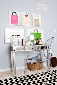 Framing shopping bags are a great idea for wall art in a changing room or closet!