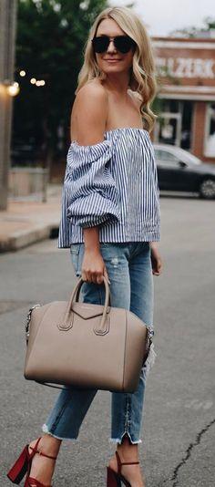 amazing outfit idea off shoulder top + bag + jeans