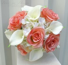 Wedding bouquet coral cream real touch by BrideinBloomWeddings